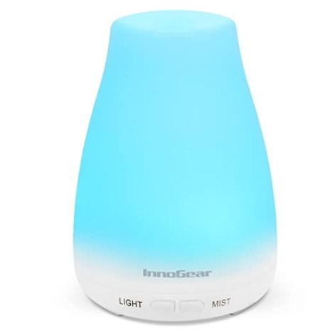 InnoGear Upgraded 150ml Aromatherapy Essential Oil Diffuser Portable Ultrasonic Diffusers Cool Mist Humidifier with 7 Colors LED Lights and Waterless Auto Shut-off for Home Office Bedroom Room