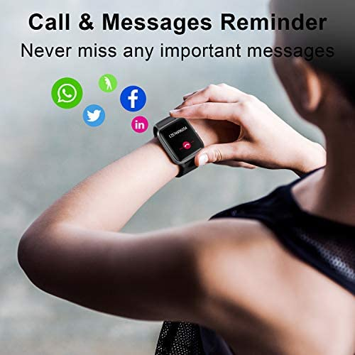 Anbes Health and Fitness Smartwatch with Heart Rate Monitor, Smart Watch for Home Fitness Tracking, Yoga, Exercise Bike, Treadmill Running, Compatible with iPhone and Android Phones for Women Men 7