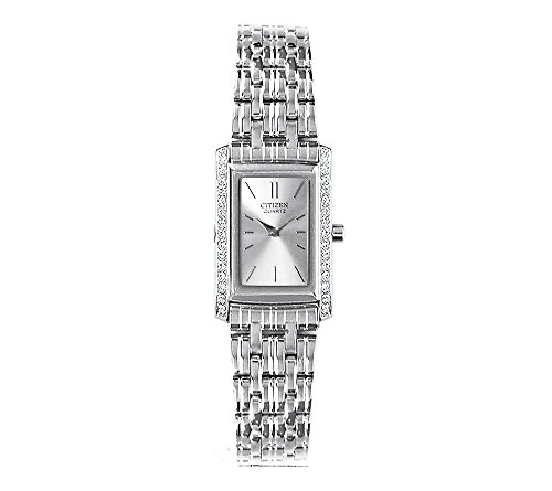 41iPfg Stunning, stainless steel watch for women with silvertone dial and hands Rectangular case accented with 30 dazzling Swarovski crystals Imported