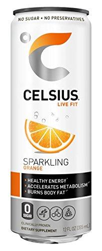 CELSIUS Sparkling Orange Fitness Drink, Zero Sugar, 12oz. Slim Can, 12 Pack 4