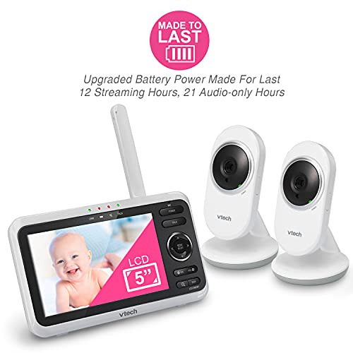"""[Newly Upgraded] VTech VM350-2 Video Monitor with Battery supports 12-hr Video-mode, 21-hr Audio-mode, 5"""" Screen, 2 Cameras, 1000ft Long Range, Bright Night Vision, 2-WayTalk, Auto-onScreen, Lullabies"""