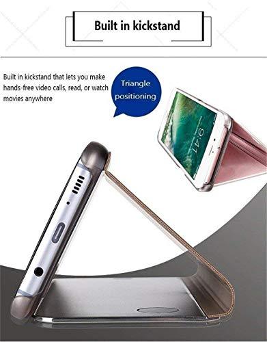 Explocart Mirror Semi View Protective Electroplate Stand Flip Cover for Xiaomi Redmi Note 7 - Black 6