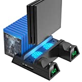 OIVO PS4/ Slim/ Pro Cooling Vertical Stand, Upgraded LED Cooling Fan and Controller Charging Dock Game Storage