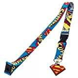 DC Comics Superman Repeat Logo Reversible Breakaway Keychain Lanyard with ID Holder and Rubber Charm
