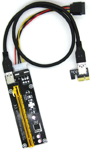 Fixable PCI-E 16X to 1X Adapter USB3.0 USB 3.0 Riser Cable Flex Flexible Extension Cable w/ Molex 4 Pin Power Connector