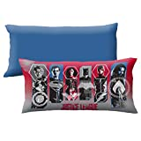 D.I.D. 1 Piece Kids 18 x 36 Red Blue Oversized Justice League Theme Body Pillow, Geometric Novelty Batman Superman Flash Aquaman Pattern Pillows Cushion Couch Sofa Bedroom Bed Headrest, Polyester