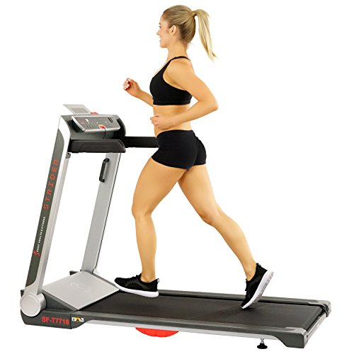 Sunny Health & Fitness No Assembly Motorized Folding Running Treadmill, 20' Wide Belt, Flat Folding & Low Profile for Portability with Speakers for USB and AUX Audio Connection - Strider, SF-T7718