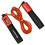 hengxin Jump Rope Skipping Rope with Foam Handled Adjustable Jump Rope with Counter, Outside Workout Home Workouts Cross Fitness Rope Skipping Weight-Loss Boxing Gym Used (Red)