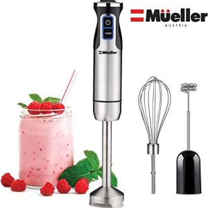 Mueller Austria Ultra-Stick 500 Watt 9-Speed Immersion Multi-Purpose Hand Blender Heavy Duty Copper Motor Brushed Stainless Steel Finish With Whisk, Milk Frother Attachments, Silver 41ia3HP1rLL