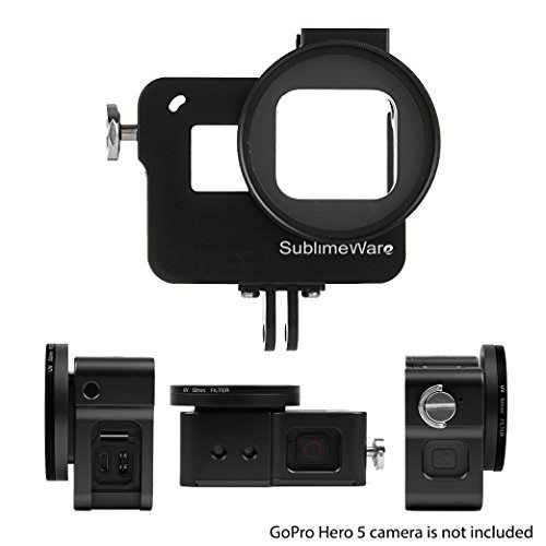 Aluminum Case Frame (Black) for GoPro Hero 5 Hero 6 with 52mm UV Filter Skeleton Housing with Microphone Mic Mount for Go Pro Hero5 Hero6 – Best Protection for GoPro by SublimeWare