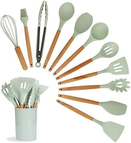 WIOR 11Pcs Kitchen Utensils Set with Holder, Silicone Kitchenware Cooking Utensils Set with Wooden Handle, Heat-resistant Non-stick BPA-free Non-toxic Silicone Cooking Utensils Kitchen Tools Set