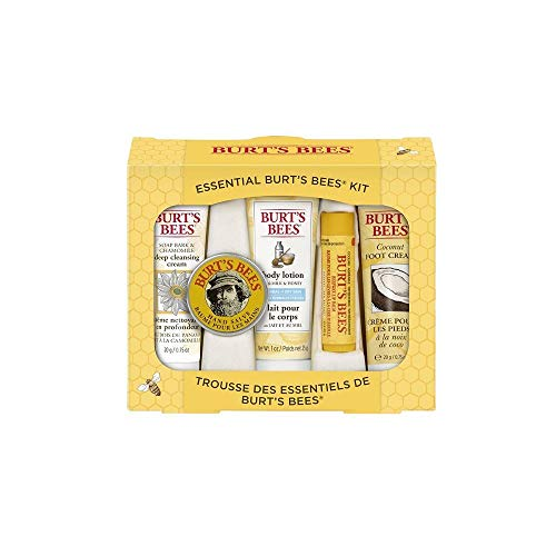 Burts Bees Essential Everyday Beauty Gift Set, 5 Travel Size Products – Deep Cleansing Cream, Hand Salve, Body Lotion, Foot Cream and Lip Balm