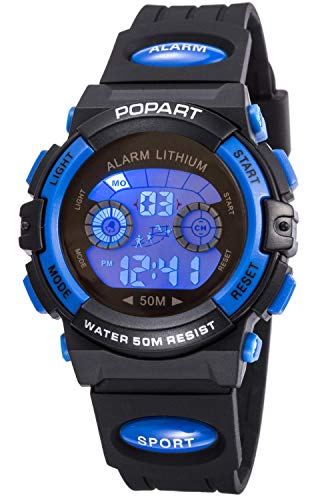Kid Watch for Child Boy Girl LED Multi Function Sport Outdoor Digital Dress Waterproof Alarm Blue