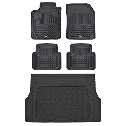 Motor Trend CB210-C2 Rubber Floor Mats for Car SUV Truck - 5 Piece Set w/Cargo Trunk Liner