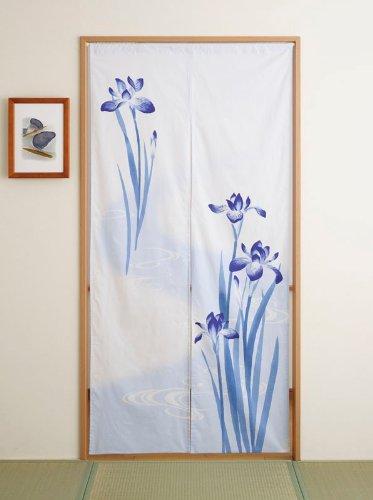 Japan Cotton Pongee Long Type Noren Curtain Tapestry Japanese Iris Design by Totas