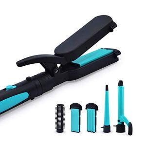 Havells HC4045 5 in 1 Hair Styler – Straightener, 19mm Curler, Crimper, Conical Curler & Volume Brush for Multiple Styles – (Blue/Black)