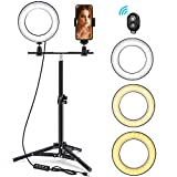 6' Selfie Ring Light with Tripod Stand & Phone Holder for Live Stream/Makeup, Foxin Mini Led Camera Ringlight for YouTube Video/Photography Compatible with iPhone Android
