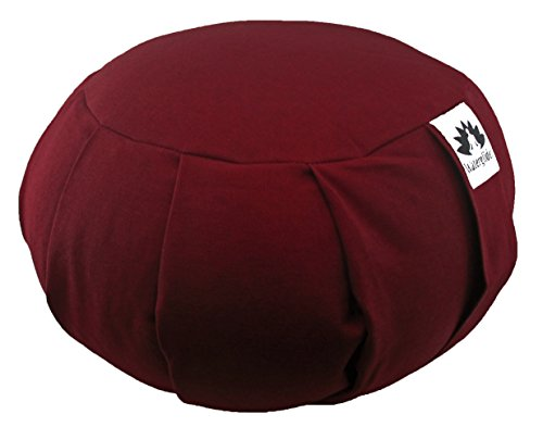 Zafu Yoga Meditation Pillow with USA Buckwheat Fill, Certified Organic Cotton- 6 Colors (Burgundy)