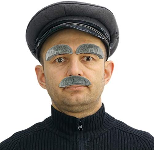 Skeleteen Eyebrow and Mustache Set - Old Man Bushy Stick On Fake Grey Eyebrows and Moustache Kit for Men, Women and Children