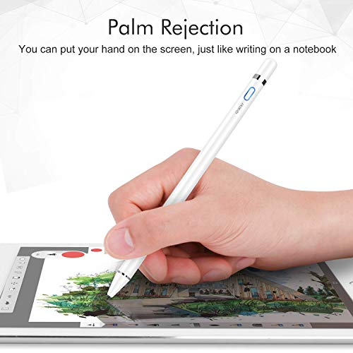 MEKO Upgraded Fine Tip Stylus Pen for Apple iPad with Palm Rejection, Compatible for iPad Pro 11/12.9 Inch, iPad 6/7th Gen/Air 3rd Gen/Mini 5th Gen Rechargeable Digital Pencil (White)