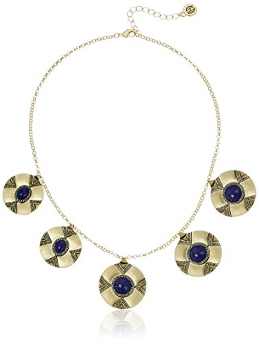 "Made in China Gold tone coin station necklace with lapis cabochon stones and smokey grey pavé (16-18"") Imported"