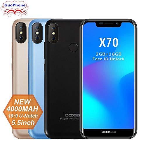 Doogee X70 Smartphone Face 5.5'' U-Notch 19:9 MTK6580 Quad Core 2GB RAM 16GB ROM Android 8.1 Dual Camera 8.0MP 4000mAh Cellphone Blue