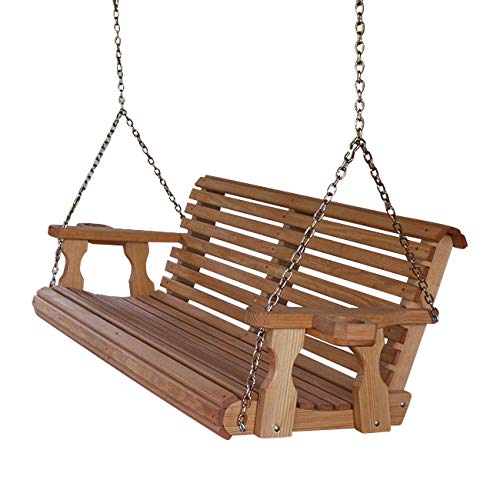 Amish Heavy Duty 800 Lb Roll Back 5ft. Treated Porch Swing With Cupholders - Cedar Stain
