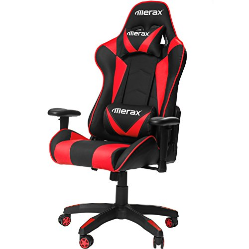 Merax Gaming Chair High Back Computer Chair Ergonomic Design Racing Chair (Red)