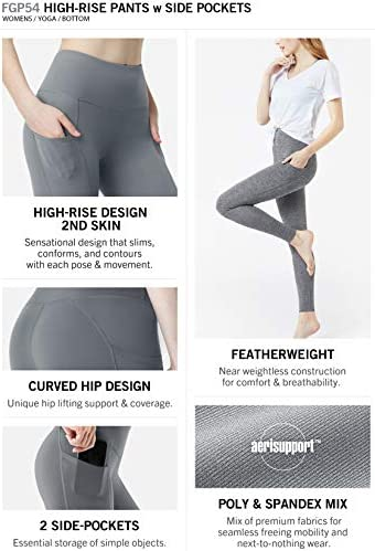 TSLA High Waist Yoga Pants with Pockets, Tummy Control Yoga Leggings, Non See-Through 4 Way Stretch Workout Running Tights 3