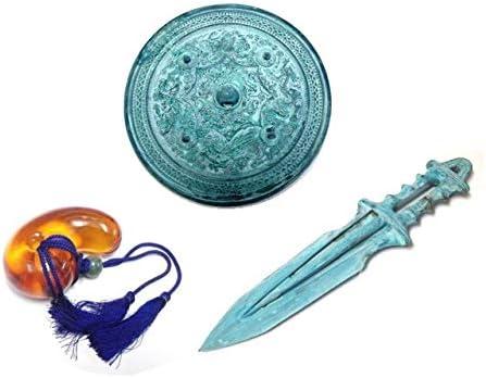 三種の神器(さんしゅのじんぎ)◆八咫鏡(やたのかがみ)、草薙の剣(くさなぎのつるぎ)、八尺瓊之勾玉(やさかにのまがたま)セット (緑青風(ろくしょうふう))