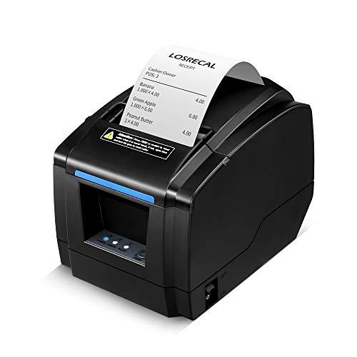 LOSRECAL-Thermal-Receipt-Printer-Restaurant-Kitchen-Printer-of-Sound-ReminderWall-MountAuto-Cutter-3-inches-80mm-Desktop-POS-Bill-Machine-with-USBLANCash-Drawer-Port-Support-Windows