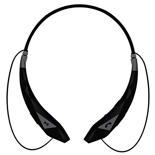 Aduro Amplify Pro SBN45 Wireless Stereo Bluetooth Around The Neck Earbud Headphone Headset (Black/Grey)