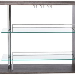Coaster Home Furnishings Coaster Contemporary Rectangular Bar Unit with 2 Shelves and Wine Holder, Weathered Grey and Chrome