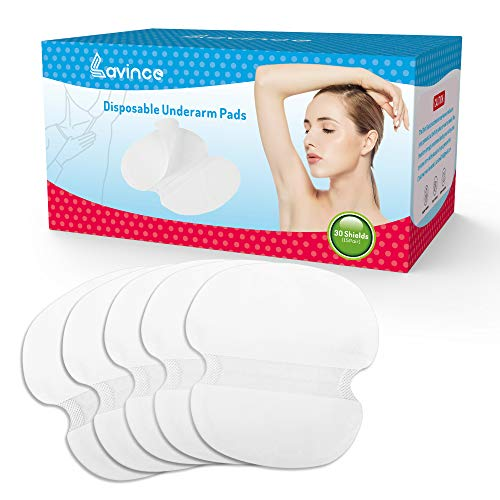 Lavince Underarm Sweat Pads 30 Premium Quality Absorbent Dress Shields Armpit Guards for Men and Women -Non Visible,Extra Adhesive,White, Large Size