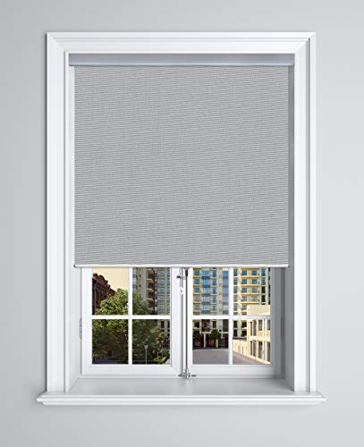 Springblinds 100% Blackout Roller Shade, 36' Wx72 H Dark Grey, Slow Rise Spring Cordless System Child Safety Polyester Blind, Custom Size, Aluminum Valance Shades Made in USA