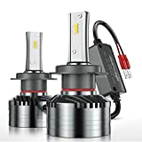 H7 LED Headlight Bulbs, Marsauto M2 Series Super Bright Head/Fog Light Bulbs with Fans, Holder Adapter CANbus-Ready IP67 CSP Chips 10000LM 6000K Xenon White 2-Pack