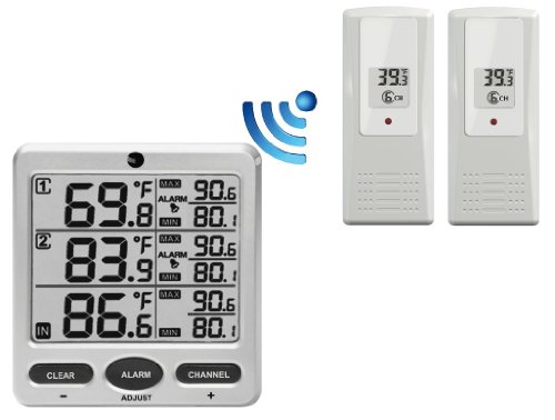 Ambient Weather WS-21 Wireless 8-Channel Thermometer with Two Remote Sensors, Silver