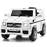Costzon Kids Ride On Car, Licensed Mercedes Benz G65, 12V Battery Powered Electric Vehicle, Parental Remote Control & Manual Modes, Music, Horn, LED Headlights, USB MP3 Functions, White