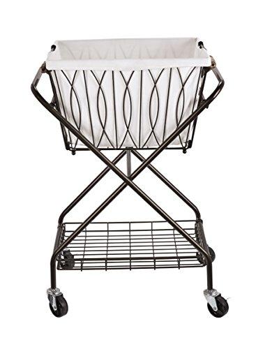 Artesa 5187033 Verona Collapsible Metal Laundry Cart with Removable Basket & Canvas Bag, 20.5' L x 16.2' W x 13' H, Antique Black