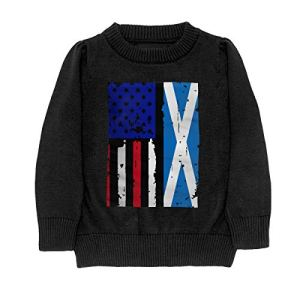 HJKNF58Q Scotland American USA Flag Pride Sweater Youth Kids Funny Crew Neck Pullover Sweatshirt