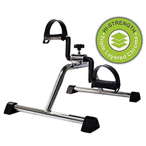 Vaunn Medical Pedal Exerciser Chrome Frame (Fully Assembled Exercise Peddler, no Tools Required)