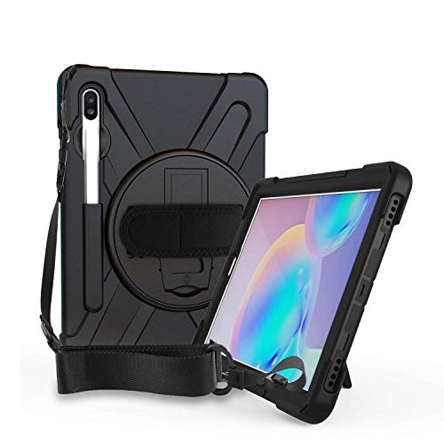 ABOUTTHEFIT Rugged Cover for Samsung Galaxy Tab S6 10.5 Case Shockproof Heavy Duty Full Body Protective 10.5-inch Tough Bumper Shell with Pen Holder, Stand and Shoulder Strap SM-T860 T865 2019(Black) 205