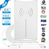 Digital TV Antenna, JoyGeek Amplified HDTV Antenna Stand Indoor 80-120 Miles Long Range Signal Wave Support 4K 1080P HD Freeview Powerful Home Amplifier Signal Booster 16ft Coax Cable USB Power