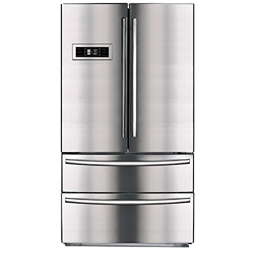 SMETA Upright Counter Depth French Door Refrigerator Bottom Freezer with Automatic Ice Maker,20.7 cu ft,Stainless Steel