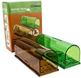 TWO COLORS! Upgraded No Kill Humane Mouse Trap for Indoor/Outdoor. Safe for Kids, People and Pet. Catch and Release. Catcher That Works for Small Rodents. Easy to set, Reusable and Cruelty Free 2Pack.