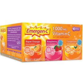 Emergen-C Dietary Supplement Fizzy Drink Mix with 1000mg Vitamin C, 0.32 Ounce Packets, Caffeine Free
