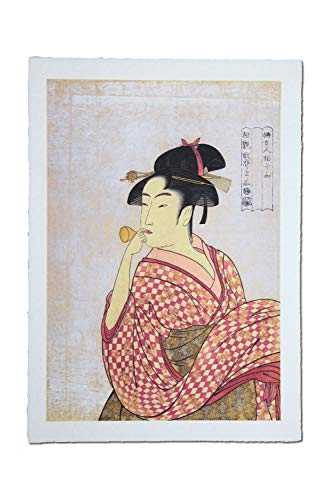 Made in Japan Ukiyoe Art Prints on Special Japanese All Handmade Washi Paper (Young Woman Blowing a Glass Pipe by Kitagawa Utamaro)