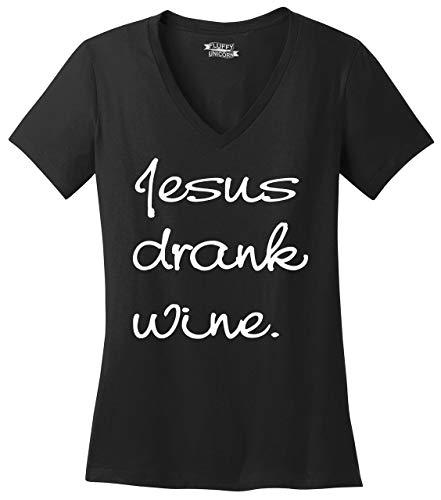 Comical-Shirt-Ladies-V-Neck-Tee-Jesus-Drank-Wine-Tee-Christian-Religious-Party-Tee-Black-3XL