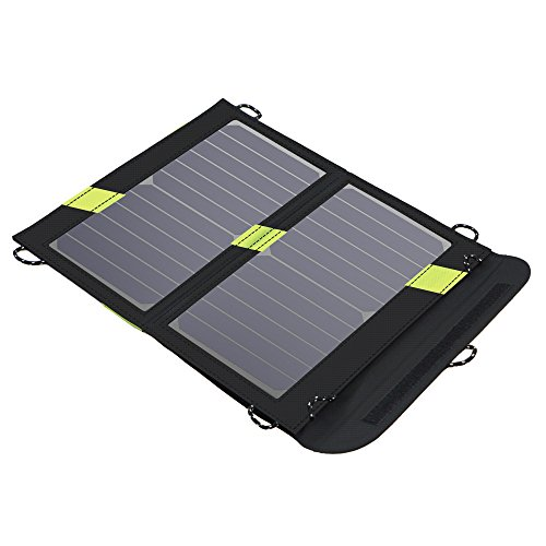 X-DRAGON Portable Solar Chargers 14W SunPower Solar Panel Waterproof Foldable Camping Battery Charger with Dual USB Port & SolarIQ Technology for iPhone 8/X/7, iPad Mini, Other Android Cell Phones