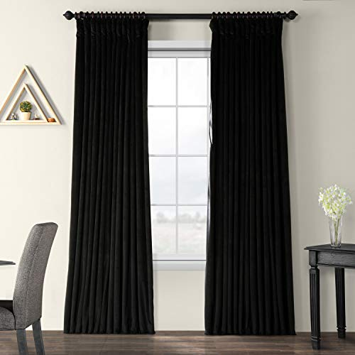 Half Price Drapes VPCH-VET1212-96 Signature Doublewide Blackout Velvet Curtain, Black, 100 X 96